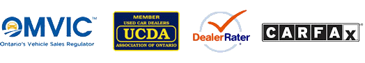 We are OMVIC, UCDA, Dealer Rater & Carfax approved